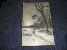 OLD POSTCARD FAULKNER PANEL GREETING CARD CHRISTMAS POSTED 18 DEC 1916 & STAMP
